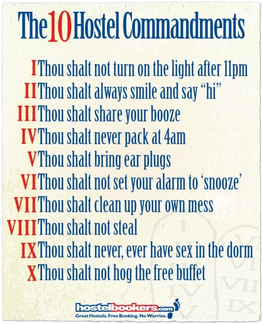10 Hostel Commandments!