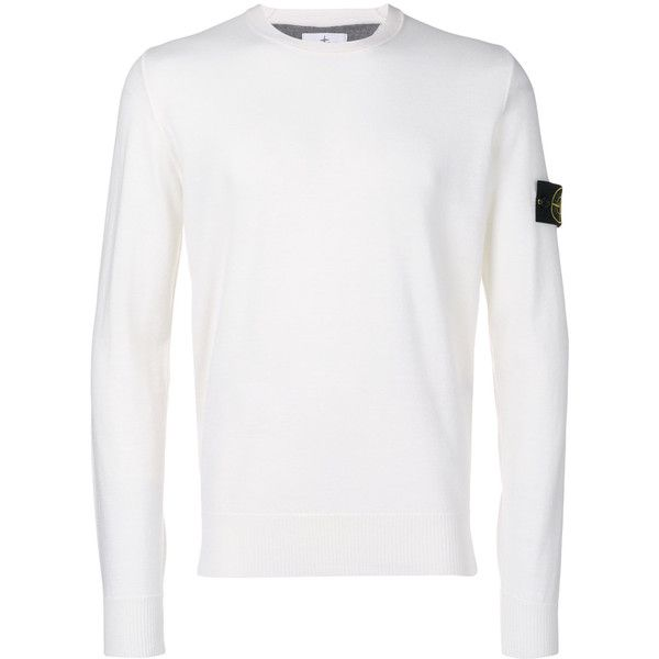 Stone Island crew neck jumper (865 BRL) ❤ liked on Polyvore featuring men's fashion, men's clothing, men's sweaters, white, mens wool sweaters, mens woolen sweaters, mens crewneck sweaters, mens crew neck sweaters and mens white sweater