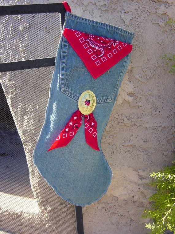 Denim and Bandana Christmas stocking