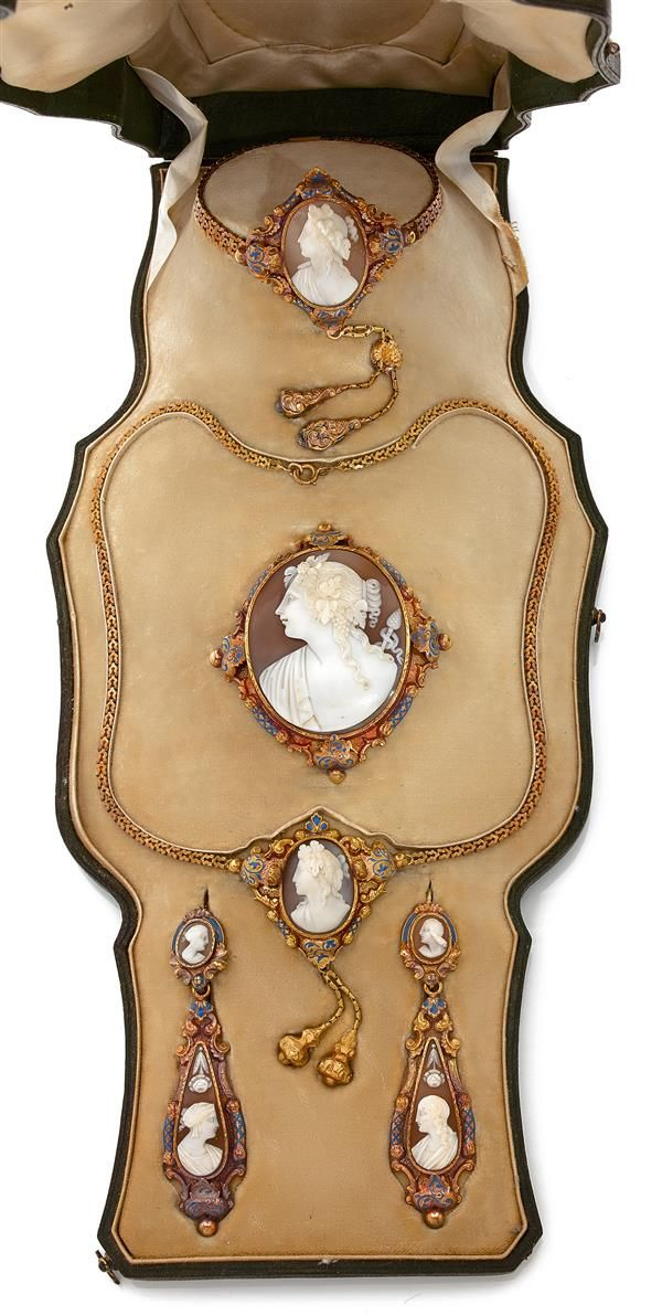 An antique gold, enamel and shell cameo parure, French, circa 1840. Consisting…