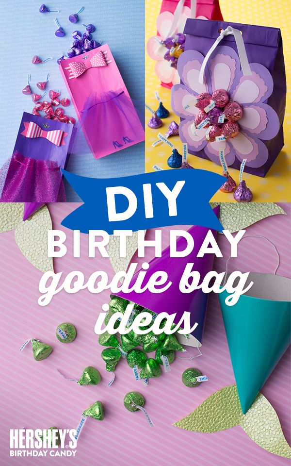 Make your kid's birthday the sweetest celebration ever with these adorable HERSHEY'S DIY Goody Bag ideas. For the little princess in your life, why not make the DIY Princess Goody Bag—filled with HERSHEY'S party favors. Another idea, that looks great but is easy-to-make is the KISS-sational Mermaid Goody Bag. Let's birthday!