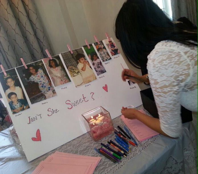 """Guess Bride's Age Game board for Bridal Shower - done Silent Auction style - leave handout to fill beside board & try your luck - 2 prizes given : one to the correct answers and another to match what the Bride herself guessed ! -""""Love is Sweet"""" themed"""