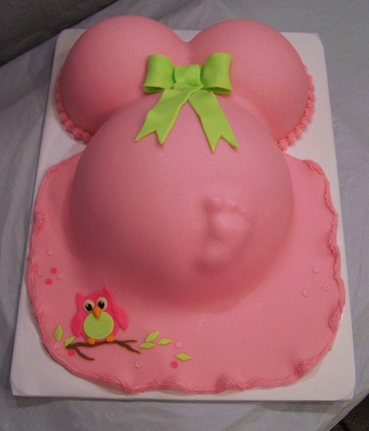 Pink Belly Cake With Owl