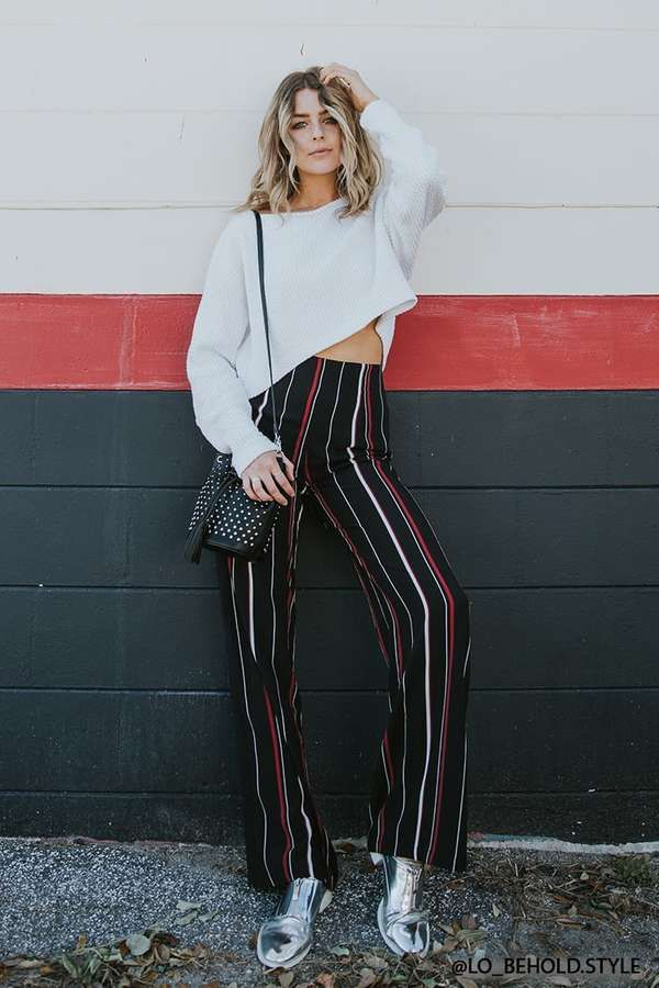 FOREVER 21 Stripe Palazzo Pants  teen teenage fashion style vacation beach college summer + spring womens outfits casual romper first day school fall + winter sweater holiday season seasonal     Disclosure: Please note the link is an affiliate link which means-at zero cost to you-I might earn a commission if you buy something through my links.