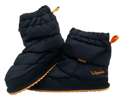 Battery heated slippers provide comfortable warmth both indoor and outdoor.
