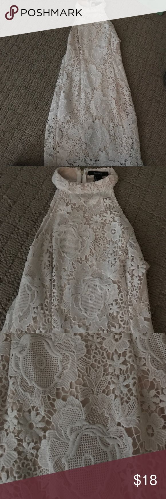 High Neck Lace Dress! Bodycon, super cute, only wore once for graduation, classy.. white with nude undertones! Dresses