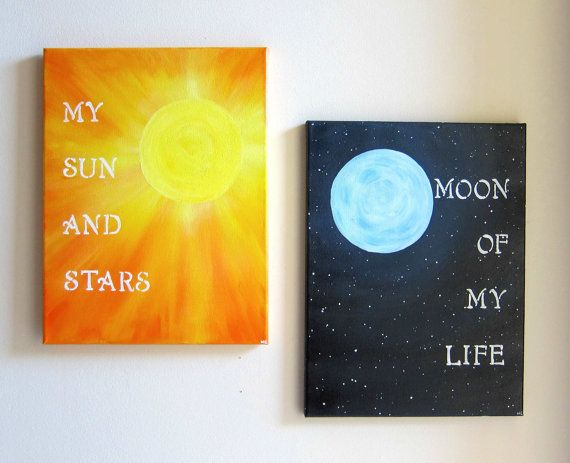 My Sun and Stars / Moon of My Life Canvas Artwork - Khal and Khaleesi Quotes Art