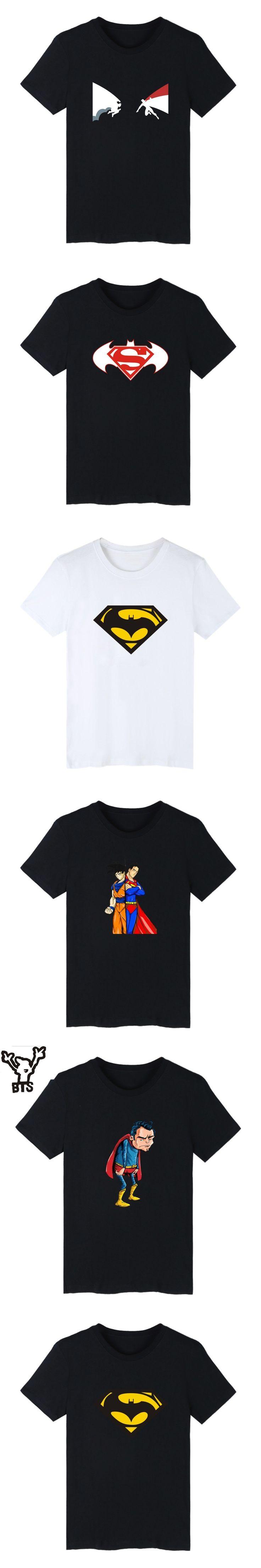 BTS Old Superman VS Batman 4XL T Shirt Men 2016 New Cotton Mens and Super Saiyan Print Funny T-shirt in TShirt Tee Top