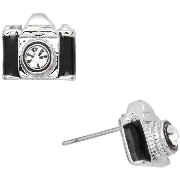 Small camera earrings in black and silver ($14) ❤ liked on Polyvore featuring jewelry, earrings, black silver jewelry, black and silver jewelry, earring jewelry, studded jewelry and sparkly earrings