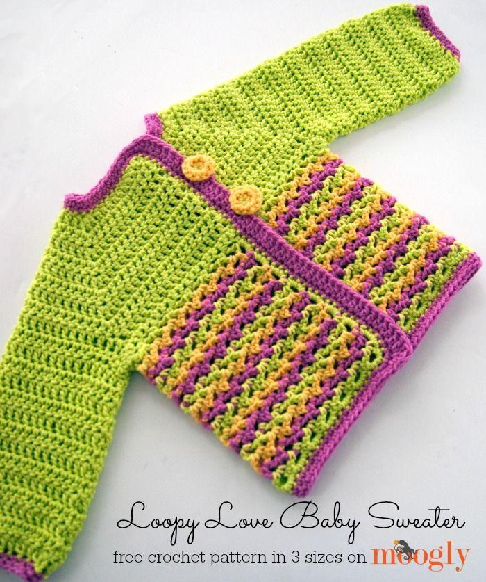 Loopy Love Baby Sweater - free #crochet pattern in 3 sizes on Moogly!