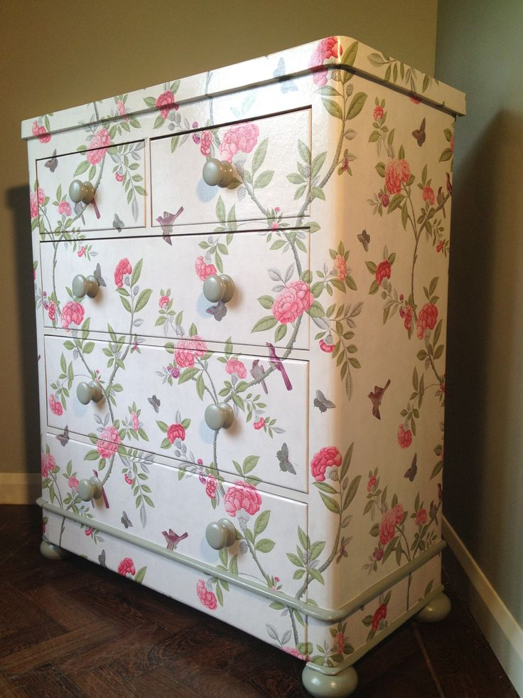 wallpaper covered chest of drawers 3