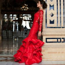 Lace Red Wedding Dresses Long Sleeve Mermaid Bride Dress Backless Sweep Train Church Indian Wedding Gowns Vestido de Noiva(China (Mainland))