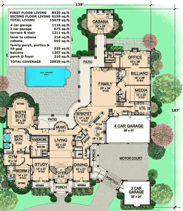 plan 36323tx estate home plan with cabana room luxury houses - Luxury House Plans