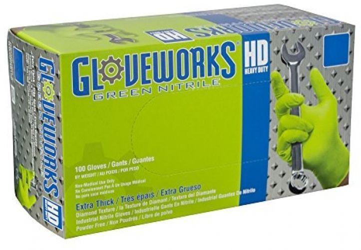 Gloveworks Green Diamond Textured Nitrile Industrial Disposable Gloves, Box, 100 #Ammex