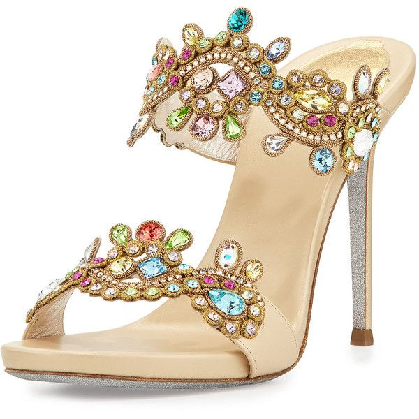 Rene Caovilla Jeweled Two-Band Mule Sandal ($1,370) ❤ liked on Polyvore featuring shoes, sandals, mida multi, strappy high heel sandals, mule sandals, glitter sandals, high heel mule sandals and slip on sandals