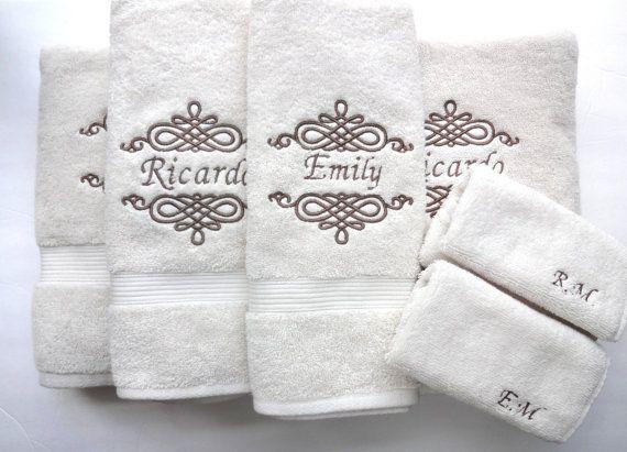 Set Of 6 Personalized Bath Towels Hand Towel Bathroom