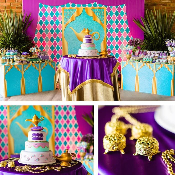 Cake cake table from a princess jasmine birthday party for Aladdin decoration ideas