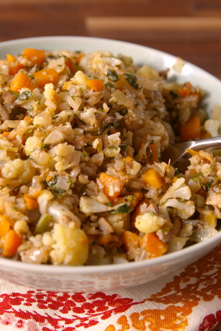 Best Cauliflower Stuffing.  Cauliflower takes the place of bread in the low-carb stuffing of your dreams.
