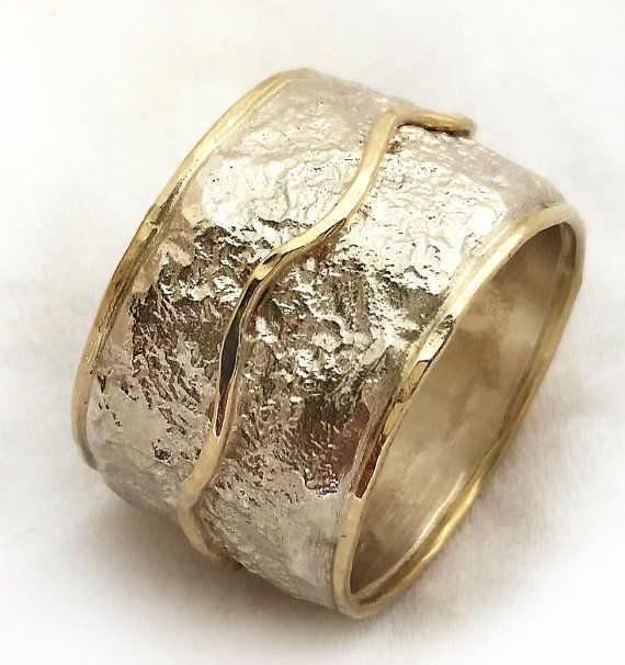 Wide Textured Womens Wedding Ring Handmade Silver Gold