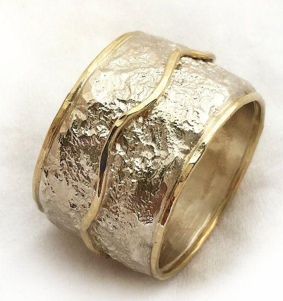 Wide Textured Womens Wedding Ring Handmade Silver Gold