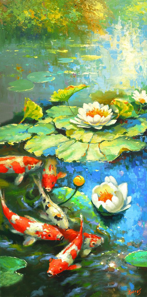 """Water lily - suny pond Oil Palette Knife Painting on Canvas by Dmitry Spiros. Size: 24""""x48"""" (60 cm x120 cm)"""