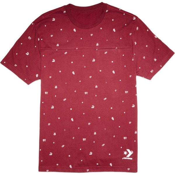 Converse CONS Printed Connector Tee – deep bordeaux ($25) ❤ liked on Polyvore featuring tops, t-shirts, deep bordeaux, bordeaux t shirts, converse t shirt, red short sleeve top, red chevron top and bordeaux top