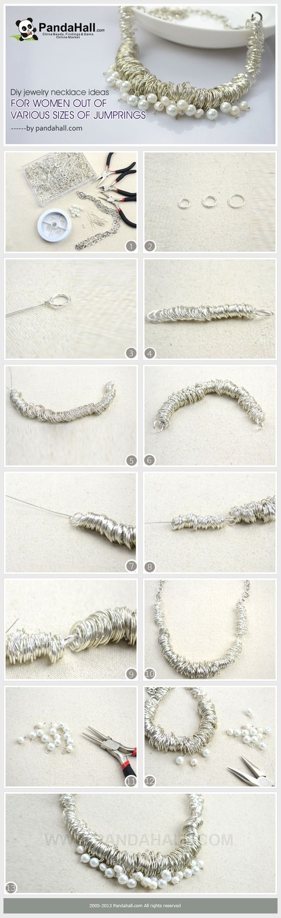 The jumprings assembled with wire can be made into a simple chain, or further contribute more intricate pattern in chain-mail diy jewelry. However, in this post I will show you another usage via the necklace ideas for women. by wanting