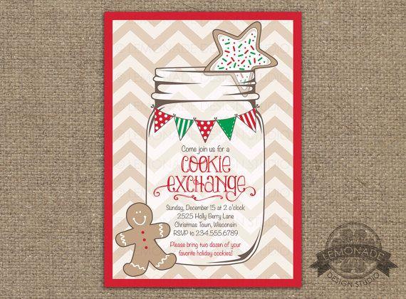 Christmas Cookie Exchange Invitation - Christmas Party - Chevron Christmas - Mason Jar - Christmas Bunting - Ginger bread Invitation