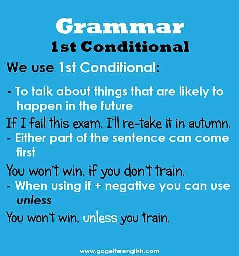 English first conditional - Repinned by Chesapeake College Adult Ed. We offer free classes on the Eastern Shore of MD to help you earn your GED - H.S. Diploma or Learn English (ESL) . For GED classes contact Danielle Thomas 410-829-6043 dthomas@chesapeke.edu For ESL classes contact Karen Luceti - 410-443-1163 Kluceti@chesapeake.edu . www.chesapeake.edu