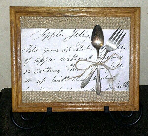 Grandmommas old silverware, handwritten recipe enlarged, frame & burlap!
