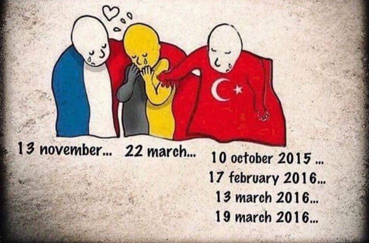 Turkish people are sharing this cartoon asking where our sympathy was for them