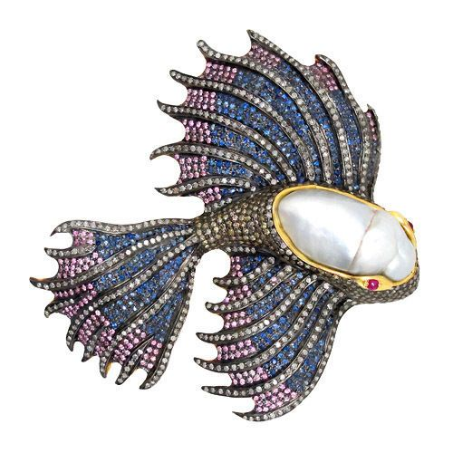 FISH Brooch Pin PEARL Pave 5.46ct Diamond 14k Gold Sapphire Ruby Sterling Silver #Handmade