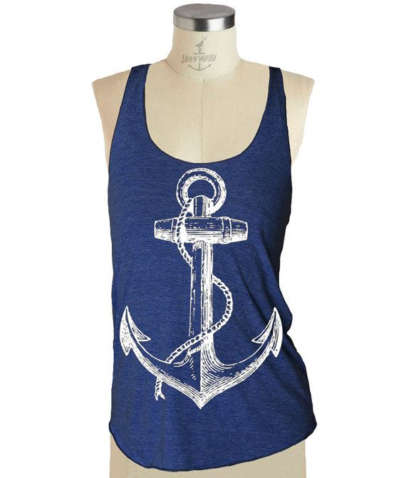 This super comfy Anchor print design racerback tank top is screen printed by us; Skip N Whistle, with eco friendly ink. Super soft racerback os