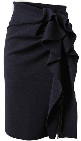 Women's Black Brooch - Pencil skirt