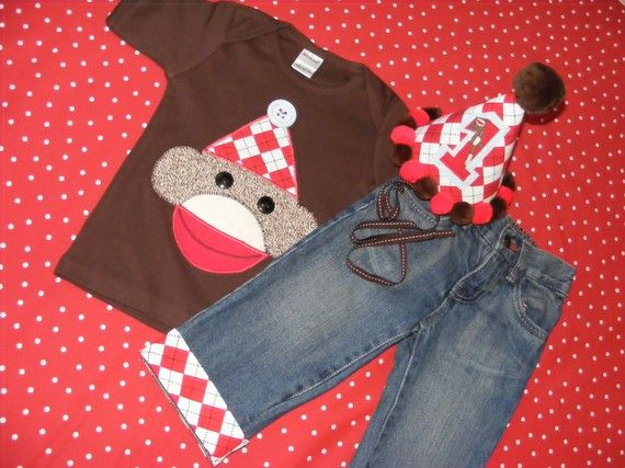Sock Monkey Birthday Outfit Shirt and Jeans and hat 3 by daisydeco, $73.00
