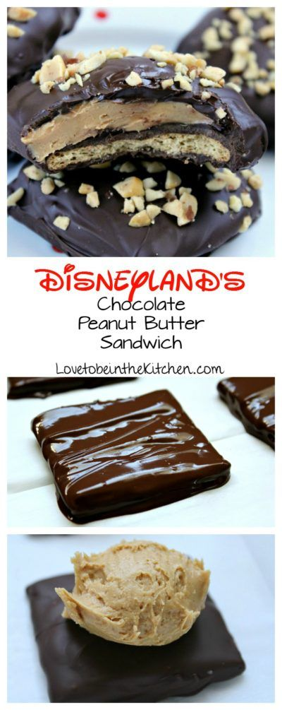 Disneyland's Chocolate Peanut Butter Sandwich- A delicious copycat recipe from one of the best treats at Disneyland! A layer of chocolate covered graham cracker topped with a creamy peanut butter layer and all dipped in chocolate! These are easy to make and so yummy!