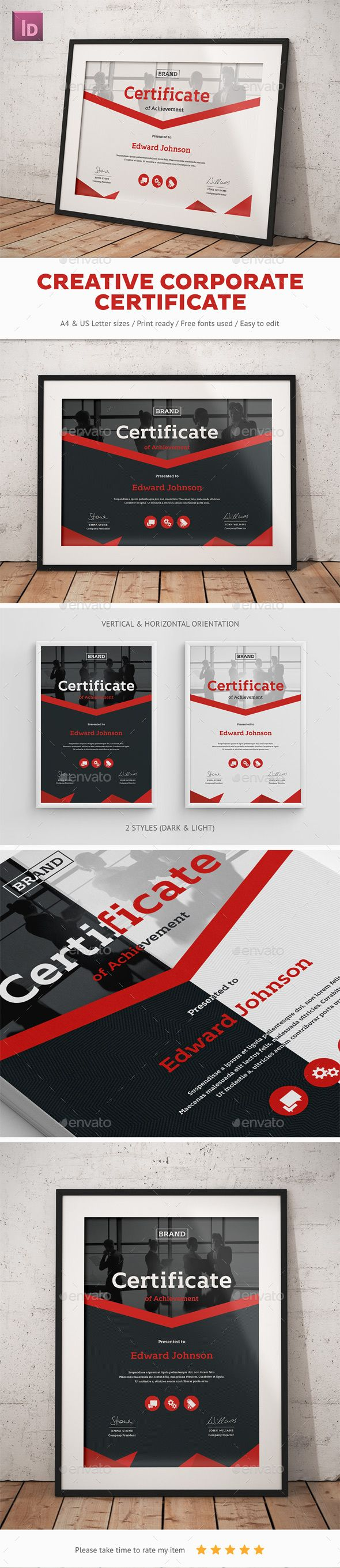 Creative Corporate Certificate Template InDesign INDD. Download here: http://graphicriver.net/item/creative-corporate-certificate/14878026?ref=ksioks