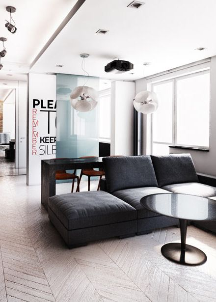 Living room design in flat in POLAND - archi group. Pokój dzienny w mieszkaniu.