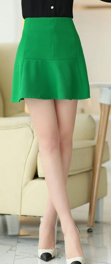 Mini A-line Green Skirt YRB0645