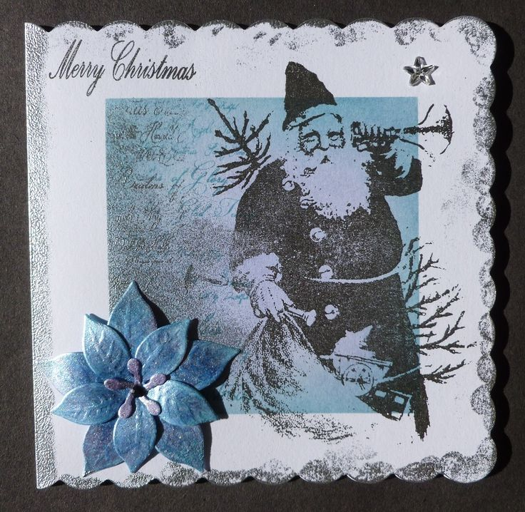 'Special Delivery' Card.  Imagination Craft's-Santa & Christmas script Art stamps.  Sax blue, Lilac Mist & Mediterranean sky Starlight paints.  Diamond Sparkle Medium.   'Merry Christmas' stamp from Imagination's  Robin decoupage stamp set.  Versamark pad.  Silver embossing powder.  Tumbled glass, shaded lilac, Dusty concord & Broken china Distress inks.   September 2016.  Designed by Jennifer Johnston.