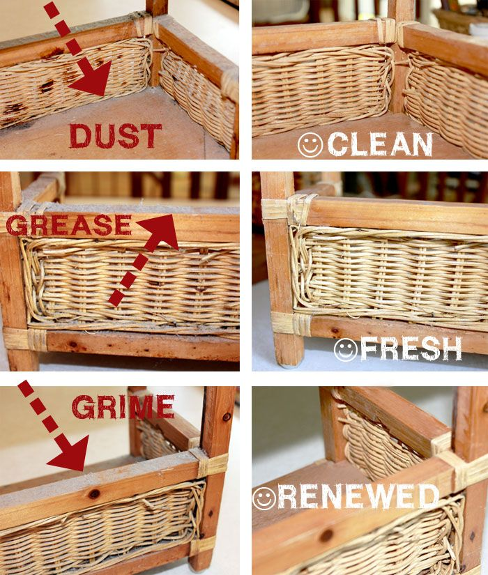 How to clean your wicker baskets. This way works well, but I use murphys oil soap with the water to add moisture into the wicker. It keeps them from drying out and falling apart.