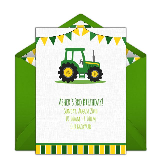 Free birthday party invitation with a tractor design. Love this design for a farm birthday party or tractor themed birthday party.