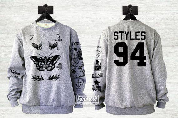 Harry Style Tattoo Sweatshirt Sweater Crew Neck Shirt by Noonew