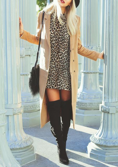 Love The Leopard Dress With Thigh High Boots Fashion Trends Pinterest Leopard Dress