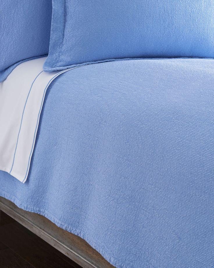 Full/Queen Alto Matelasse Coverlet, Blue   Matouk