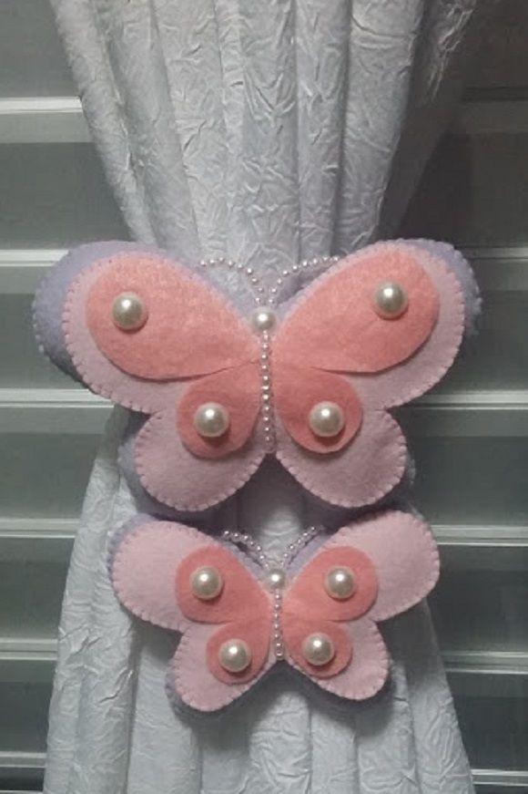 Resultado de imagen para mariposas de fieltro para cortinas