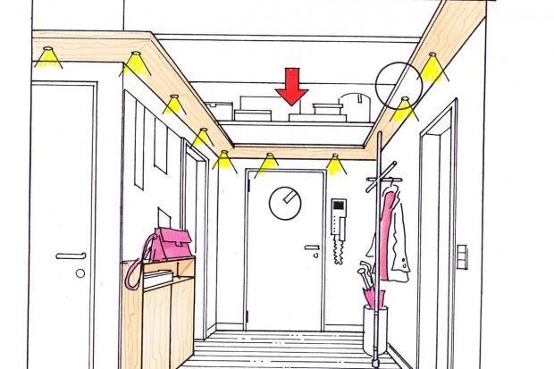 Fast unsichtbaren Stauraum schaffen Sie im Flur, indem Sie die Raumhöhe nutzen.
