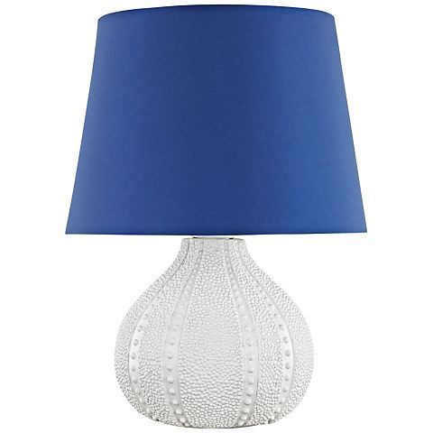 "Aruba 19""H White with Royal Blue Shade Outdoor Table Lamp"