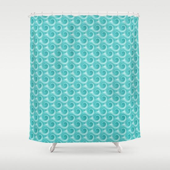 Shower Curtain Turquoise Teal Abstract Art Bathroom Accessories Home Decor Modern