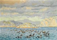 King eiders off Greenland by Johannes Larsen